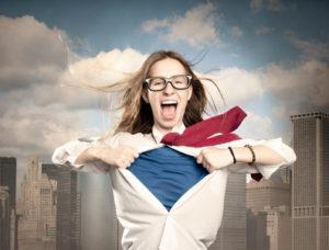 woman opening her shirt like a superhero